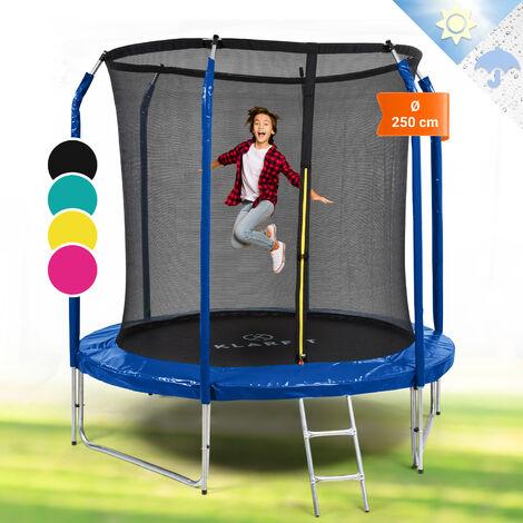 Klarfit Jumpstarter Trampolin 2,5m Ø Netz 120kg max. dunkelblau
