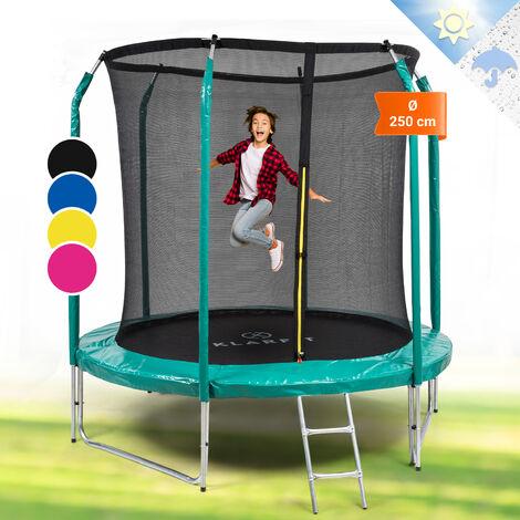 Klarfit Jumpstarter Trampolin 2,5m Ø Netz 120kg max. dunkelgrün