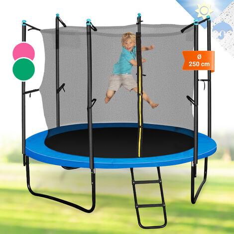 Klarfit Rocketboy 250 Trampolin 250cm Sicherheitsnetz innen breite Leiter blau