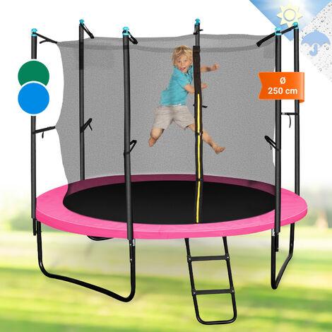 Klarfit Rocketgirl 250 Trampolin 250cm Sicherheitsnetz innen, breite Leiter pink