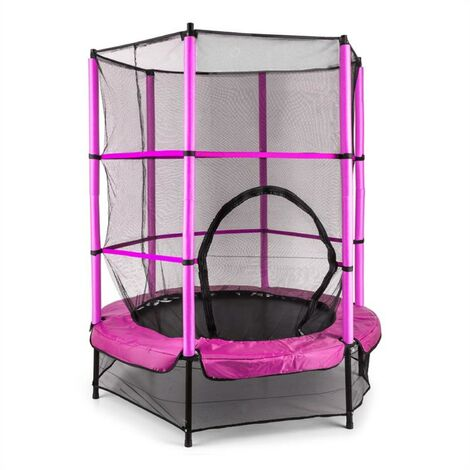 Klarfit Rocketkid Trampoline 140cm Filet de sécurité rose