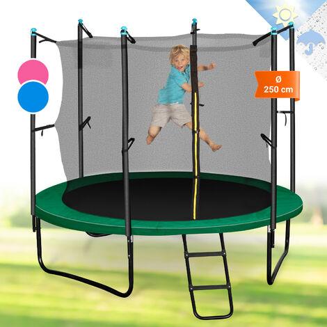 Klarfit Rocketstart 250 Trampolin 250cm Sicherheitsnetz innen breite Leiter grün