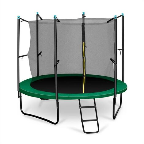 Klarfit Rocketstart 250 Trampoline 250cm Filet de sécurité échelle large vert