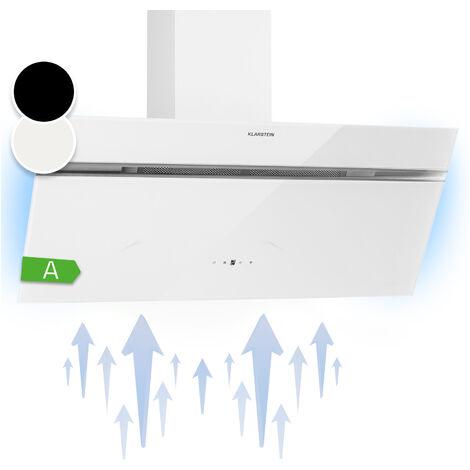 Klarstein Alina campana extractora 90 cm 600 m³/h luz ambiental cristal frente de cristal blanco