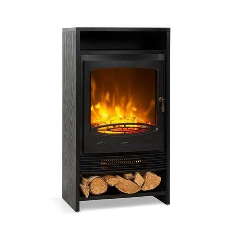 Klarstein Bergamo chimenea eléctrica 900/1.800 W termostato símil madera negra