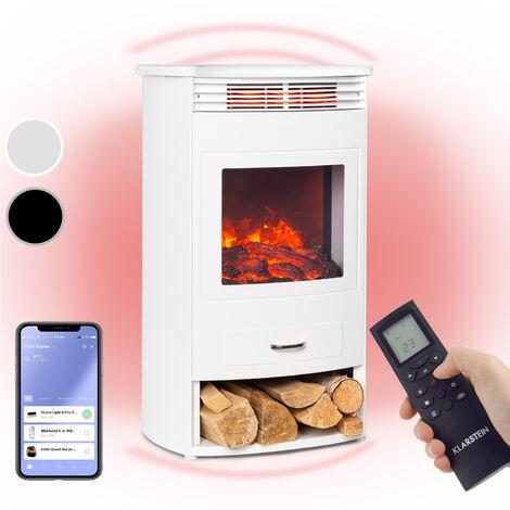 Klarstein Bormio Smart cheminée électrique 950 / 1900W thermostat minuterie hebdomadaire blanche