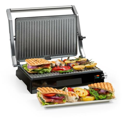 Klarstein Buffalo Grill contact pour panini 2000W- inox argent & noir