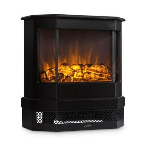 Klarstein Castillo Electric Fireplace Halogen Flame Simulation Black