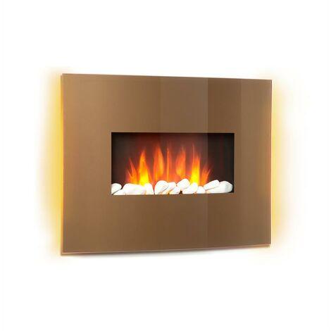 Klarstein Curved CopperCheminée électrique chauffage 1000W 2000W verre & cuivre