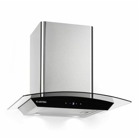 Klarstein Eclipse Cooker Extractor Hood 600 m³ / h 3 Power Levels Stainless Steel Black