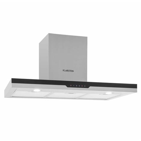 Klarstein Finessa Cooker Extraction Hood Stainless Steel 90cm Wall Mounting 635m³ / h Glass Front