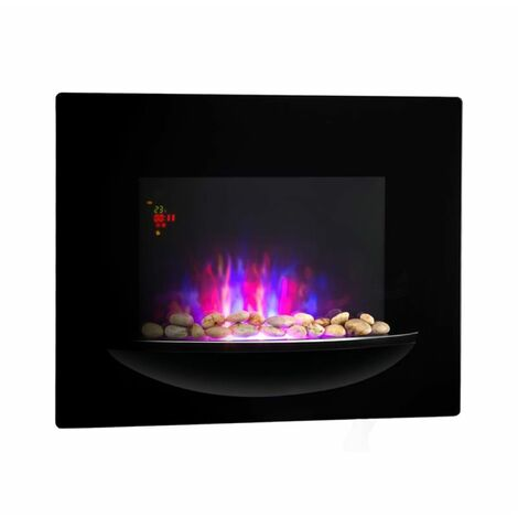 Klarstein Fire BowlWall-Mounted Fireplace 1800WRealistic Flames Decorative Stones Black