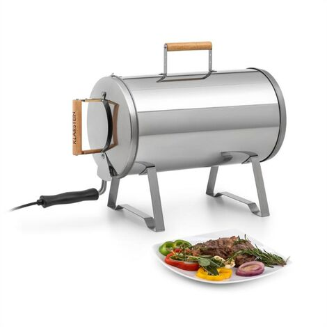 Klarstein Gourmet Barrel Smoker Stainless Steel 0.6mm Wood Handles Silver