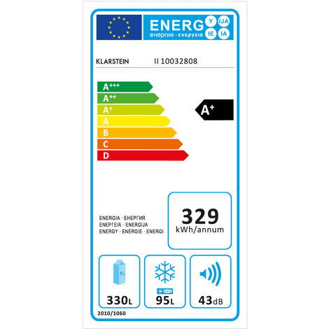 Klarstein Height Cool XXL Nevera/congelador 330 L/95 L A+ LED Touch Acero inoxidable
