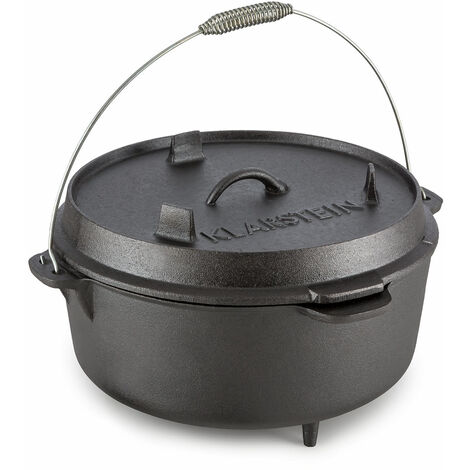 Klarstein Hotrod 145 Dutch Oven BBQ Pot 12 qt / 11.4 Litre Cast Iron Black