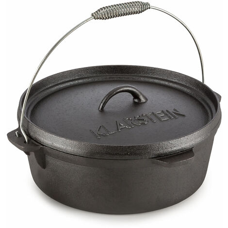 Klarstein Hotrod 60 Dutch Oven BBQ Pot 6 qt / 5.7 Litre Cast Iron Black