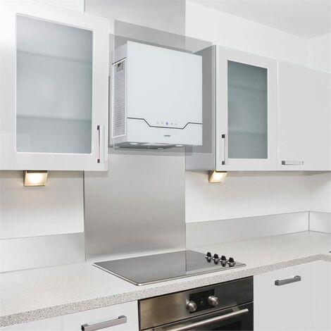 Klarstein Karree Campana extractora Circulación de aire 60 cm 640 m³/h LED Acero inoxidable Vidrio blanca