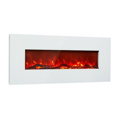 Klarstein Lausanne Long Chimenea eléctrica 1600W 2 niveles de calefacción 128 cm Blanca
