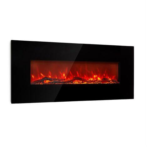 Klarstein Lausanne Long Electric Fireplace 1600W 2 Heat Settings 128 cm Black