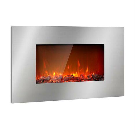 Klarstein Lausanne Luxe chimenea eléctrica 2.000 W 2 niveles de calor 90 cm acero