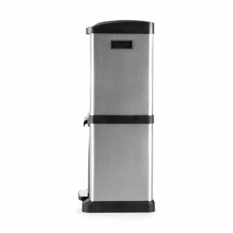Mari Home para Cocina de Acero Cubo de Basura de 60 l con Pedal para Reciclaje Gris fr/ío con 2 Compartimentos de 30 l Cada uno