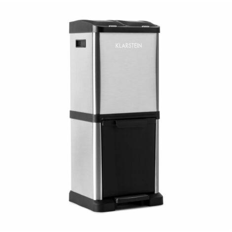 Klarstein Ökosystem² Waste Bin Waste Separater 30 L (1 x 15 L, 2x7,5 L) PE Stainless Steel