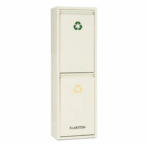 Klarstein Ordnungshüter 2 Rubbish Bins Waste Separator 30L (2 x 15 L) Creme Beige