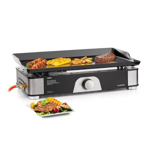 klarstein Orfeo Barbecue / Plancha de table à gaz 3,5 kW 350 °C Concept InstantReady noir