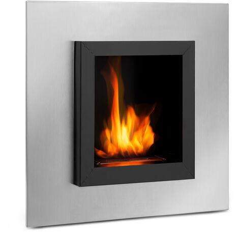 Klarstein Phantasma Cuadro cheminée à l'éthanol brûleur inox 600 ml noir/argent