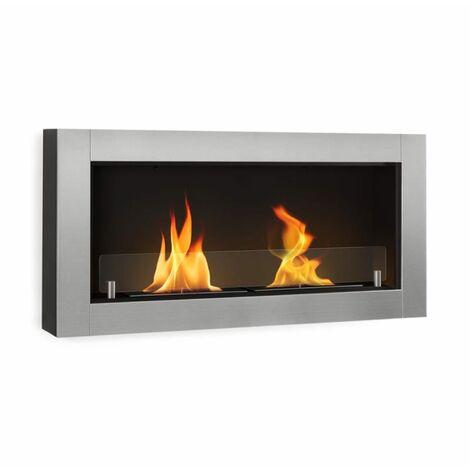 Klarstein Phantasma Modern Ethanol Fireplace 3 hours Burning Time silver
