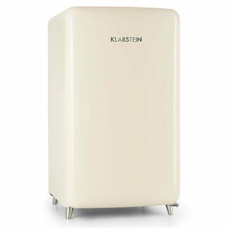 Klarstein PopArt-Bar Nevera color crema 136l Diseño retro 3 estantes Compartimento para verdura A+