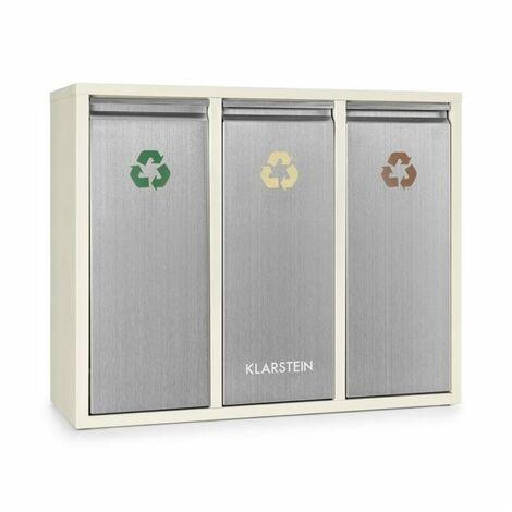 Klarstein Poubelle écologique triple tri sélectif & recyclage 45L (3x 15L) beige