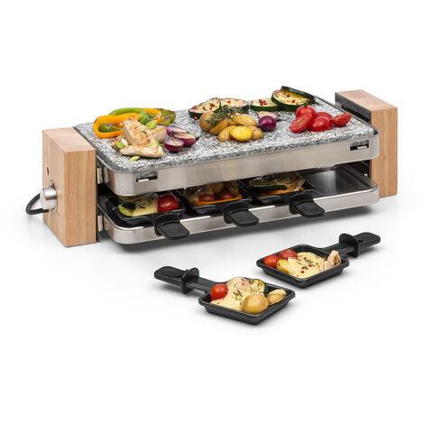 Klarstein Prime-Rib Plancha raclette 1500 W Placa de piedra natural Carcasa de acero inoxidable