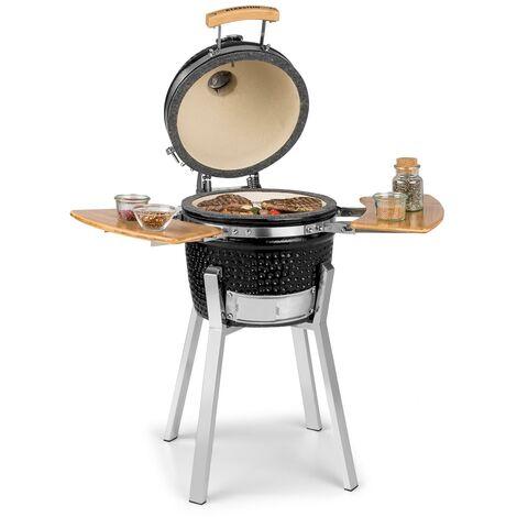 "Klarstein Princesize Pro Barbecue grill Kamado 13"" (33 cm) thermomètre tablettes latérales noir"