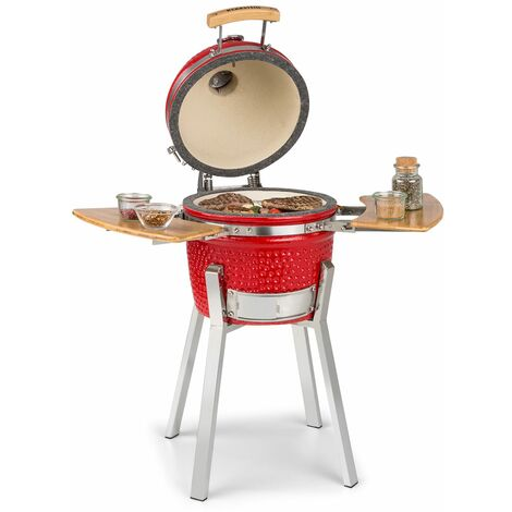 "Klarstein Princesize Pro Barbecue grill Kamado 13"" (33 cm) thermomètre tablettes latérales rouge"