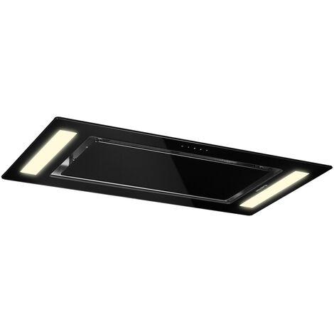 Klarstein Remy Hotte de plafond type îlot 90cm classe A 620m³/h LED verre