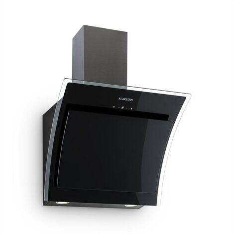Klarstein Sabia Campana extractora inclinada Vidrio de seguridad 60 cm Montaje en pared negra
