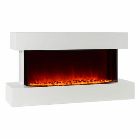 Klarstein Studio-2 Cheminée électrique Simulation de flammes LED 1000/2000W 40m² - blanc