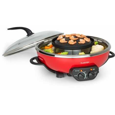 Klarstein Tafelrunde Hot Pot and Grill Plate 5l Vol. 1350 W, 600 W Red