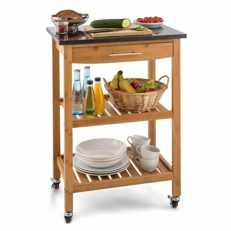 Klarstein Tennessee Chariot de service cuisine Trolley 3 étages Bambou