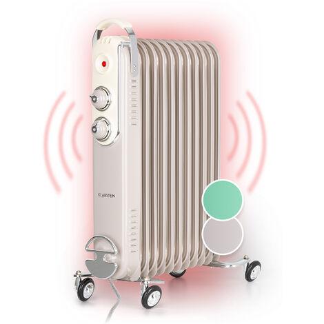 Klarstein Thermaxx Retroheat Radiador de aceite 2500W Ruedas Taupe