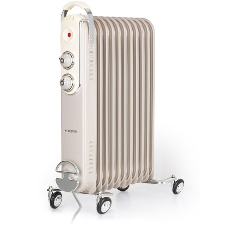 Klarstein Thermaxx Retroheat radiateur à bain d'huile 2500 W roulettes taupe