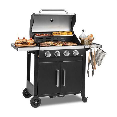 Klarstein Tomahawk 4.0 T Barbecue à gaz 4 brûleurs 3,2 kW grille de cuisson 63cm