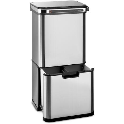 klarstein Touchless Ultraclean poubelle à capteur 60L 3 contenants acier inoxydable argentée