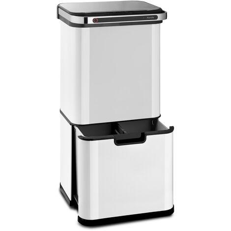 klarstein Touchless Ultraclean poubelle à capteur 60L 3 contenants acier inoxydable blanche