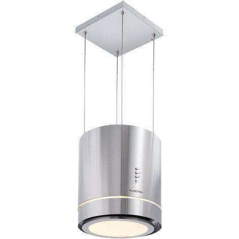 Klarstein Tron Ambience Campana extractora de isla Ø38 cm Circulación de aire 540 m³/h LED Acero inoxidable