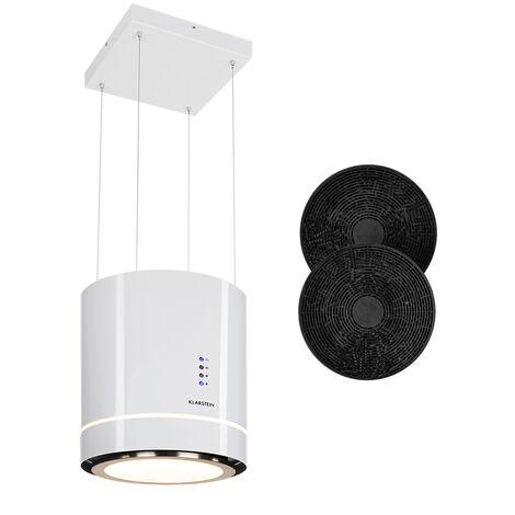 Klarstein Tron Ambience campana extractora en isla Ø38 cm recirculación 540 m³/h LED blanca
