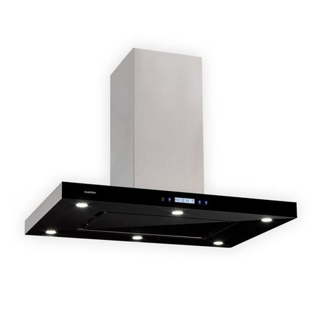 Klarstein Valeria Island Extractor 90cm 650m³ / h Exhaust Air Touch LED Glass Stainless Steel