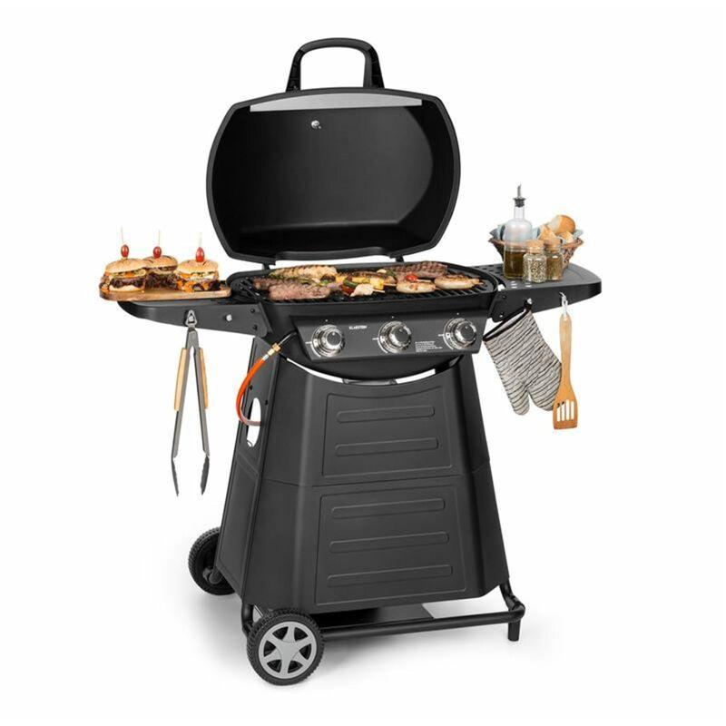 klarstein Vanquish Barbecue à gaz 3 brûleurs acier inox 9 kW grill 63,5 x 45 cm