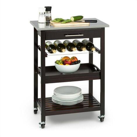 Klarstein Vermont Kitchen Wagon Serving Trolley Drawer Wine Rack Stainless Steel